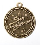 Star Performer 2 Round Sculptured Medal     Music