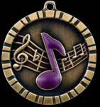 3-D Relief Medal in Antique Gold - Music Music