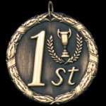1st Place 2 Round Sculptured Medal Music