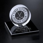 Hockey Puck on Black Glass Base Optical Crystal