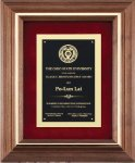 Genuine Walnut Frame with a Satin Finish Religious Awards