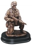 Soldier Kneeling With Rifle Down Resin Trophies