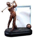 Golfer with Glass Resin Trophies