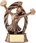 Antique Bronze and Gold Award -Cheer  Resin Trophies