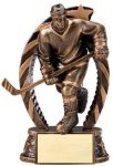 Antique Bronze and Gold Award -Hockey Male  Resin Trophies