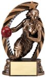 Antique Bronze and Gold Basketball, Female  Award Resin Trophies
