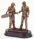 Golfer With Caddie, Male Resin Trophies