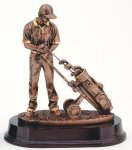 Golfer With Trolley, Male Resin Trophies