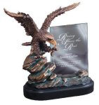 Eagle On Rock With Glass Resin Trophies