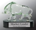 Glass Bull with Black Crystal Base Award Sales Awards