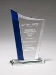 Zenith Series Clear Glass Award with Blue Glass Highlights Sales Awards