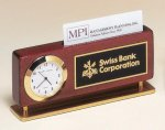Rosewood Piano Finish Clock With Business Card Holder Secretary Gifts