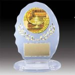 Clear Oval Acrylic Trophy with Mylar Insert Small Trophies