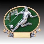 3-D Action Resin Oval Soccer Male Soccer Trophies