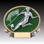 3-D Action Resin Oval Soccer Female Soccer Trophies