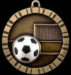 3-D Relief Medal in Antique Gold - Soccer Soccer Trophies