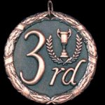 3rd Place 2 Round Sculptured Medal Soccer Trophies