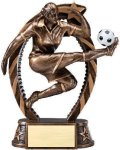 Bronze and Gold Soccer, Female Award Soccer Trophies