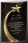 Red Marble Rounded Shooting Star Acrylic Star Acrylic Award Trophy