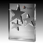 Triple Star Knockout Rectangle Acrylic Award Star Acrylic Award Trophy