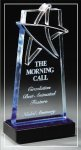 Blue Lasered Star Accent On Base Star Acrylic Award Trophy