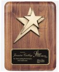 Solid American Walnut Plaque Star Awards