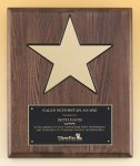 Walnut Stained Piano Finish Plaque with 8 Gold Star Star Awards
