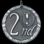 2nd Place 2 Round Sculptured Medal Volleyball